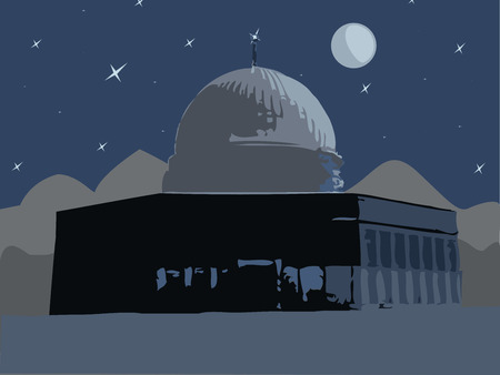 Illustration,   night, the moon over the mosque of Al Aqsa