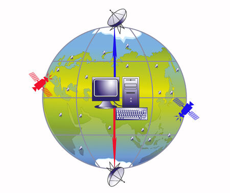 succeeding: Illustration of working system of transfer of the information on a planet the Earth Illustration