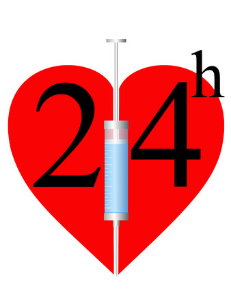 palpitation: Syringe, twenty four hours and heart on white background Illustration