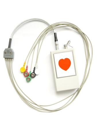 The device for registration of the electrocardiogram during day on a white background Stock Photo