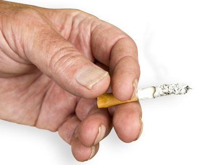 Hand with a cigarette isolated on a white background