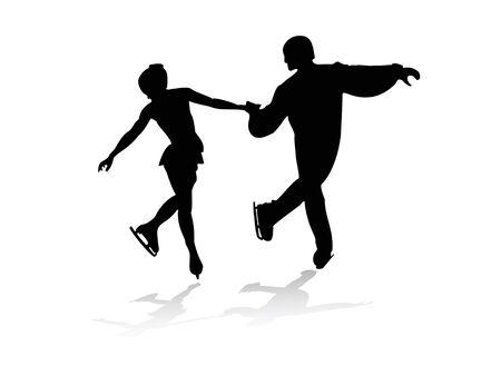 Silhouetten von Männern und Frauen Skating Vektorgrafik