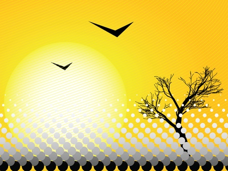 Illustration of a hot day with a tree and birds