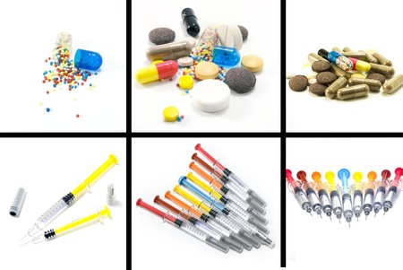 Medical collage of pills and syringes isolated on white background