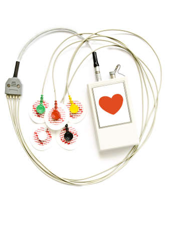 diseased: The device for registration of the electrocardiogram during day on isolated a white background