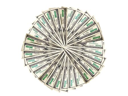 American money form a circle on a white background Stock Photo