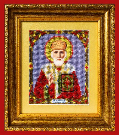 nicholas:  Icon St. Nicholas  isolated on red background