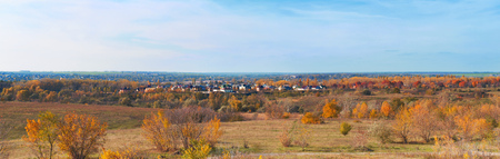Autumn day on the community, panorama landscape