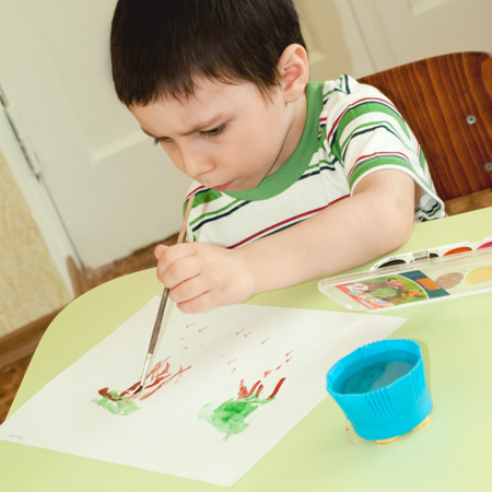 sunday school: Child for drawing in a Christian Sunday school