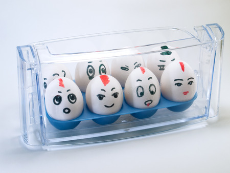 Eggs are cheerfully painted in a place intended for them