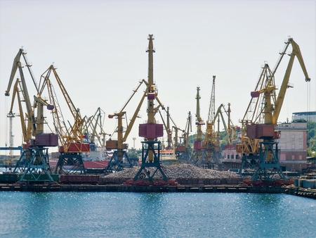 Sea cargo cranes in one of the southern ports