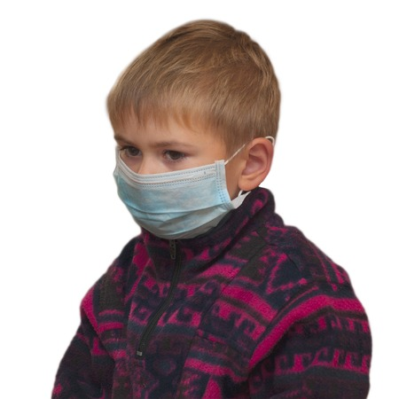 Boy in medicine healthcare mask isolated on white background