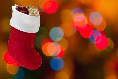 Defocused bokeh lights in boot, gifts Stock Photo