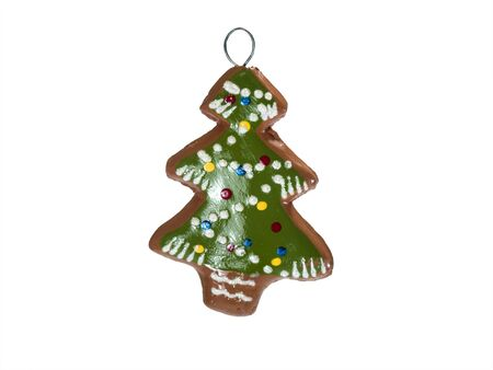 Gingerbread green christmas tree isolated at white background.