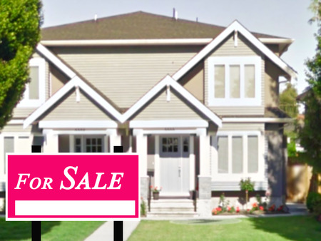Sold Home For Sale Real Estate Sign and Beautiful New House. Editorial