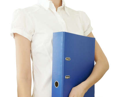 Girl with blue office folder photo