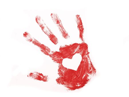 Red hand print with white heart inside Stock Photo
