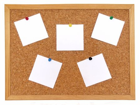 noticeboard: Cork board with notes isolated over white background