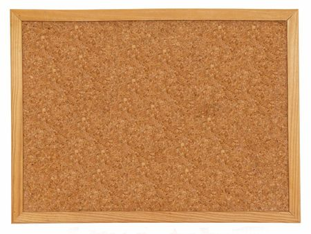 Empty cork board isolated over white background photo