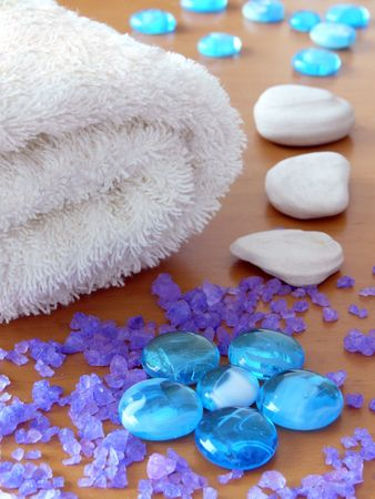 Towel, herbal salt and zen stones. Shallow DOF. Stock Photo - 5185761