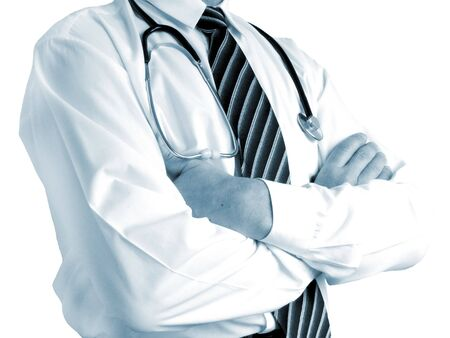 Doctor with stethoscope. Toned blue. Stock Photo - 5274773