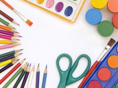 utiles escolares: Accesorios para la pintura Foto de archivo