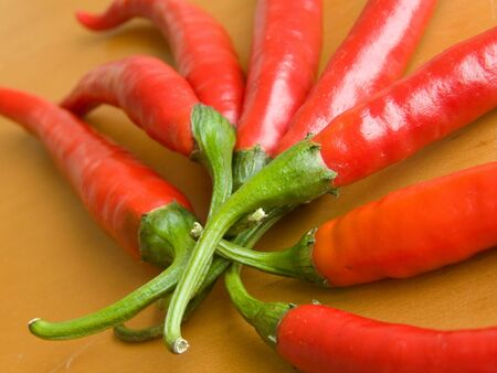 Red hot chili peppers closeup. Shallow DOF. Stock Photo - 5384388