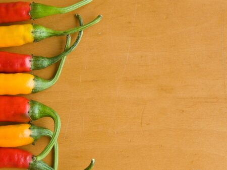 indian cookery: Row of the red and yellow chili peppers.