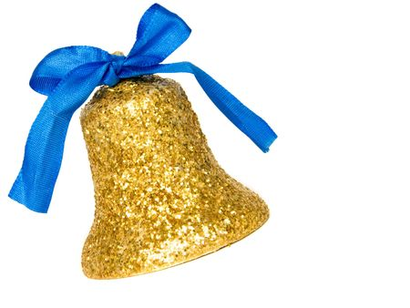 Golden christmas bell with blue ribbon, isolated over white.
