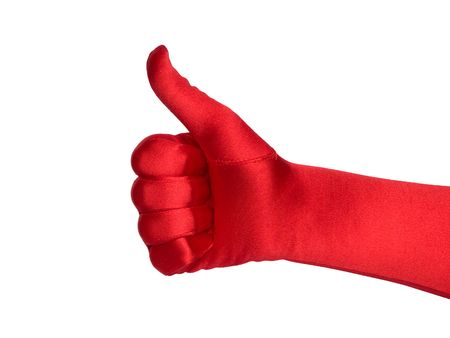Female hand in red glove shows thumb up, isolated over white background. Stock Photo - 5848192
