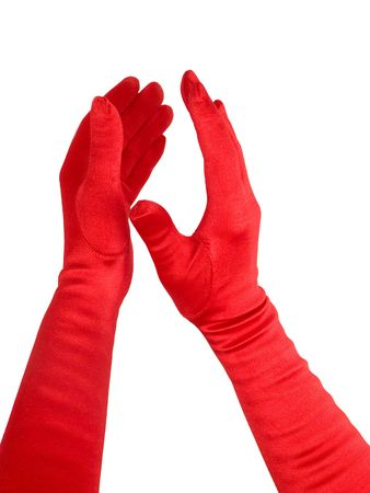 applaud: Female hands in red gloves applaud, isolated over white.