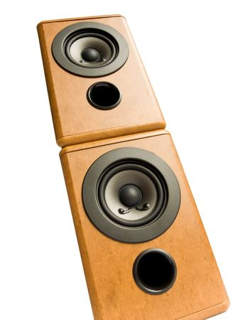 Wooden music speakers, isolated over white background. photo
