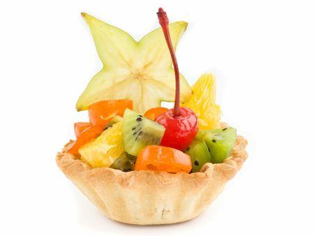 One fruit tartlet isolated over white background. Stock Photo