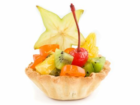 One fruit tartlet isolated over white background. Stock Photo