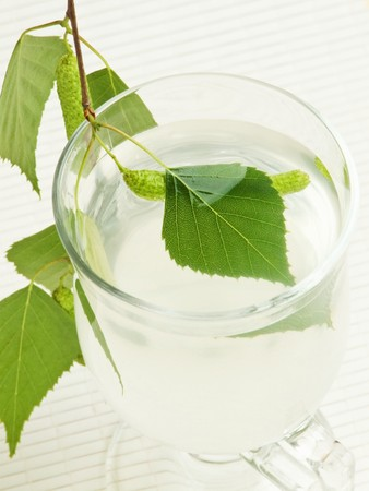 sap: Glass with fresh birch sap. Shallow dof.