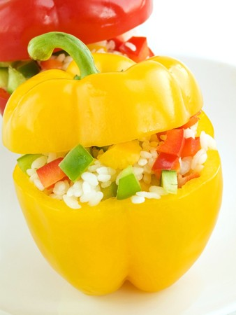 Plate with baked stuffed peppers. Shallow dof. Stock Photo - 7456800
