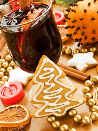 Mulled wine and gingerbread cookies. Shallow dof. photo