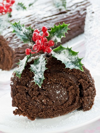 Homemade christmas chocolate yule log. Shallow dof. photo