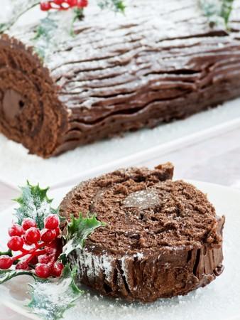 rebanada de pastel: Registro de yule de Navidad chocolate caseros. Kelvin superficial.