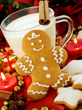 christmas gingerbread: Spiced milk and homemade gingerbread cookies for Santa. Shallow dof. Stock Photo