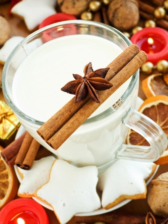 Spiced milk and homemade gingerbread cookies for Santa. Shallow dof. Stock Photo