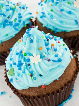 Chocolate cupcakes with whipped cream and icing. Shallow dof. Stock Photo - 8905521