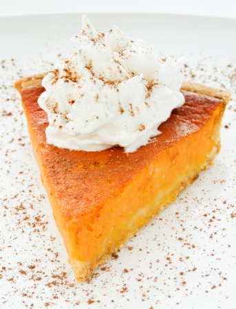 Homemade pumpkin pie with whipped cream. Shallow dof. Stock Photo - 9121320