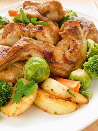 Plate with roasted rabbit and vegetable garnish. Shallow dof. photo
