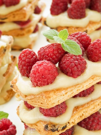 Raspberry mille feuille with custard. Shallow dof.