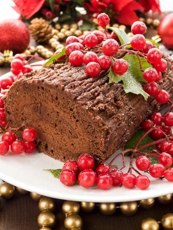 Homemade christmas chocolate yule log with wild berries. Shallow dof.