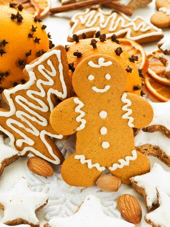 Traditional gingerbread and cinnamon Zimtsterne cookies. Shallow dof. Stock Photo - 11208943