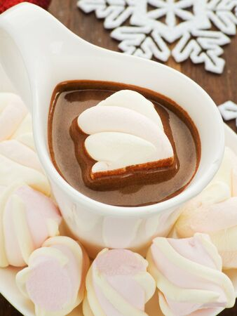 Cup of hot chocolate with marshmallows. Shallow dof. photo
