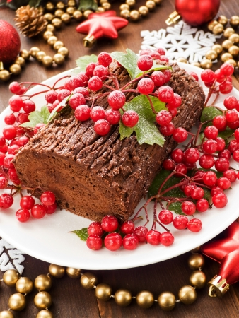 Homemade christmas chocolate yule log with wild berries. Shallow dof. photo