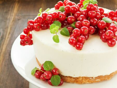 Sour cream cheesecake with red currant and mint. Shallow dof. Stock Photo